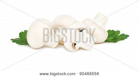 Ripe Champignons With Green Leaves (isolated)