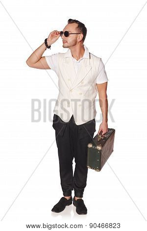 Man with suitcase running