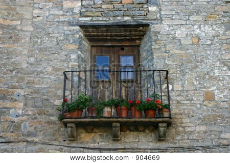 Antique Balcony In A Rural Village In Huesca, Spain