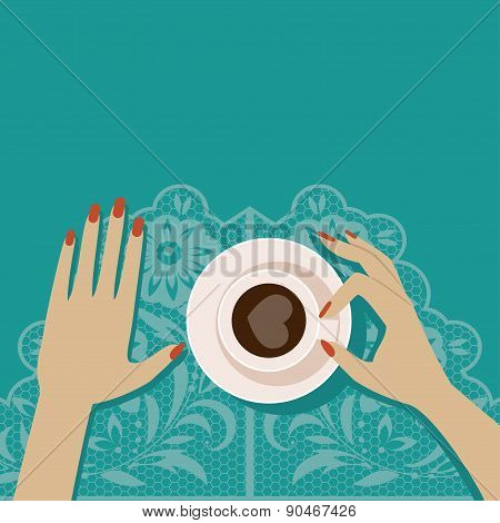 Flat Vector Illustration Cup Of Coffee