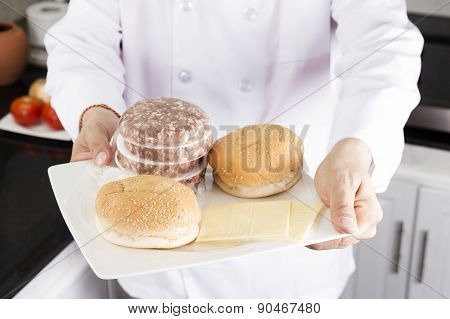 Chef Presentec Ingredients Or Hamburger