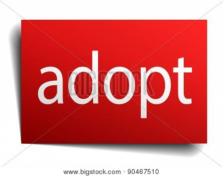 Adopt Red Paper Sign Isolated On White