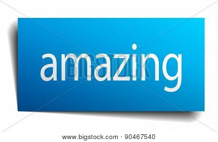 Amazing Blue Square Isolated Paper Sign On White