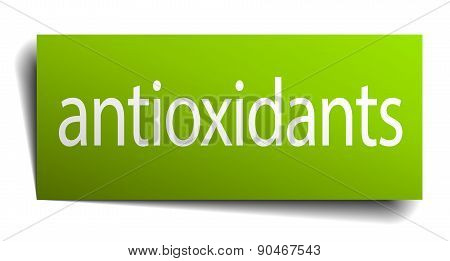 Antioxidants Green Paper Sign On White Background