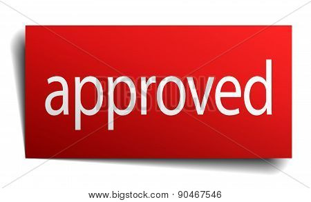 Approved Red Paper Sign Isolated On White