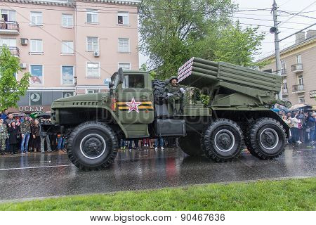 Donetsk - May 9, 2015: Military Equipment Donetskoy People's Republic