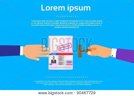 Visa Stamp Passport Flat Icon Businessman Hand
