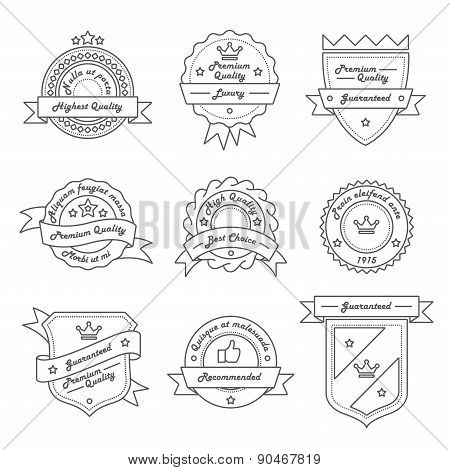 Set Of Monochrome Hipster Vintage Label, Logo And Badge Templates. Trendy Line Design. Vector Illust