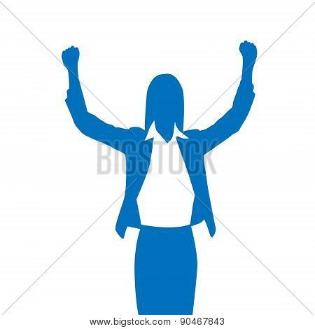 Business Woman Silhouette Excited Hold Hands Up Raised Arms