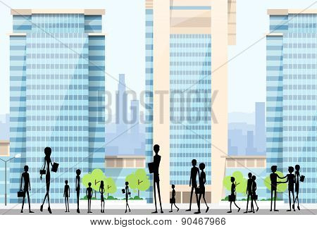 People Silhouettes Crowd on City Street Modern Office Buildings