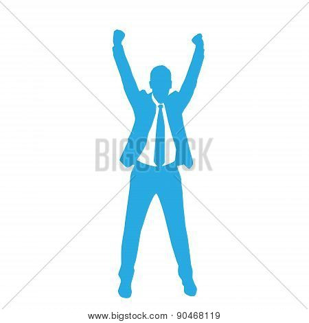 Business Man Silhouette Excited Hold Hands Up
