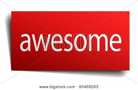 Awesome Red Paper Sign Isolated On White