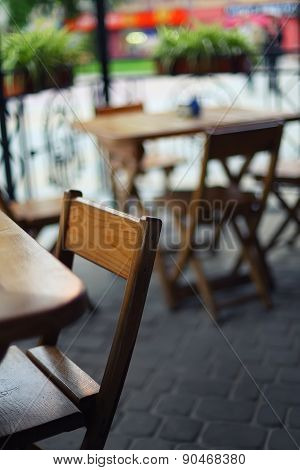 Tables And Chairs In The Bar At Shallow Depth Of Field