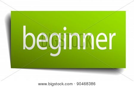 Beginner Green Paper Sign On White Background