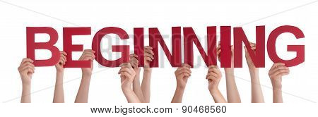 People Hands Holding Red Straight Word Beginning
