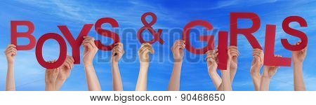 People Hands Holding Red Word Boys Girls Blue Sky