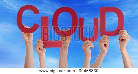 Many People Hands Holding Red Word Cloud Blue Sky