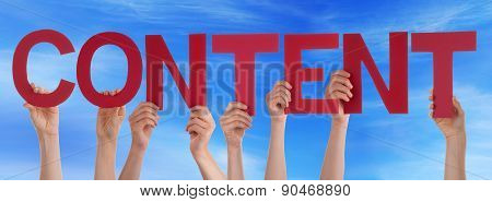 Hands Holding Red Straight Word Content Blue Sky