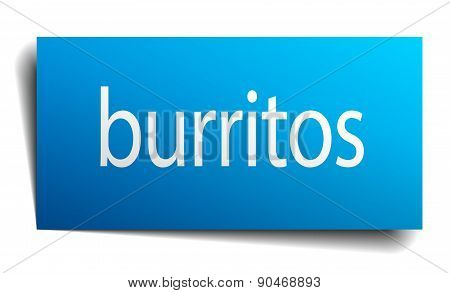 Burritos Blue Square Isolated Paper Sign On White