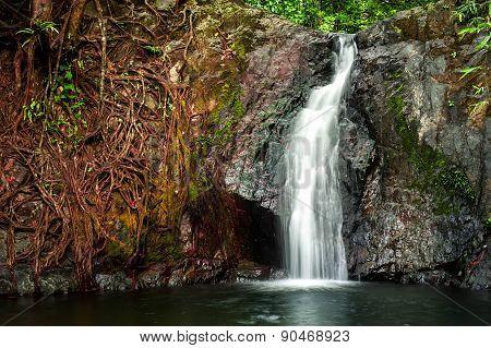 Small Waterfall At Tropical Rain Forest. Vang Vieng, Laos