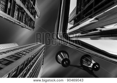 Abstract Futuristic Night Cityscape With Street Lamp. Hong Kong