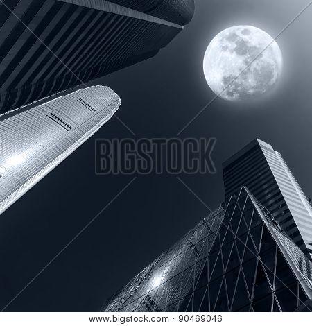 Abstract Futuristic Cityscape At Full Moon Night. Hong Kong