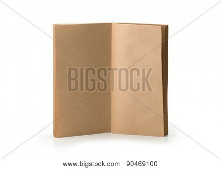 A brown paper booklet standing, pages open, isolated on white.