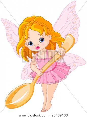 Illustration of cute little fairy holds gold spoon