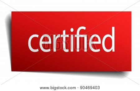 Certified Red Paper Sign Isolated On White