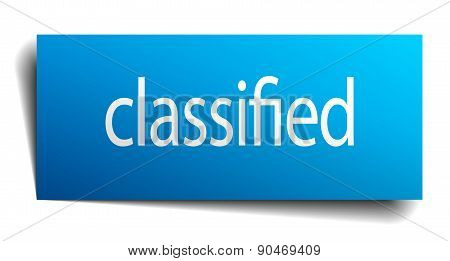 Classified Blue Square Isolated Paper Sign On White