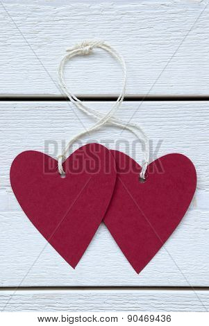 Two Hearts Label With Copy Space Vertical