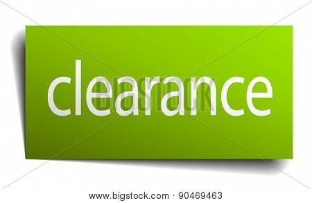 Clearance Green Paper Sign On White Background