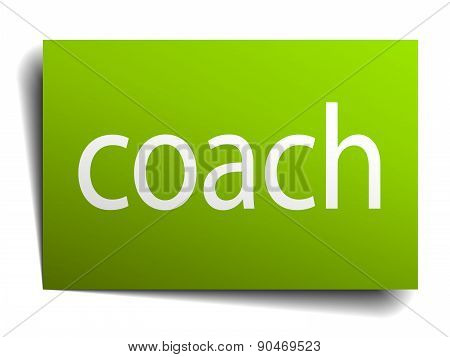 Coach Green Paper Sign On White Background