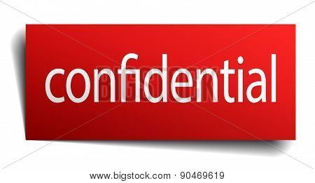 Confidential Red Paper Sign Isolated On White