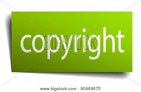 Copyright Green Paper Sign On White Background