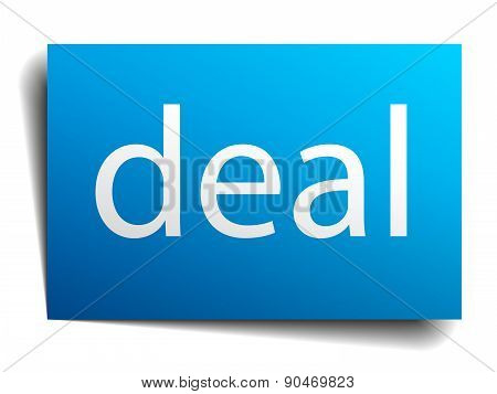 Deal Blue Square Isolated Paper Sign On White