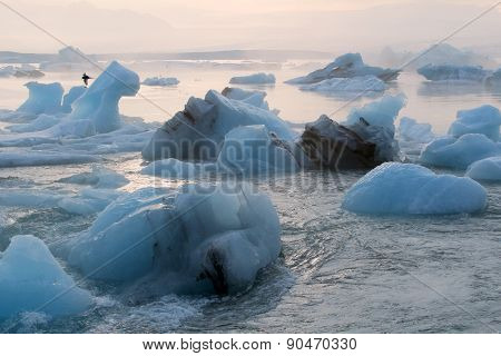 Iceberg in the glacier lagoon