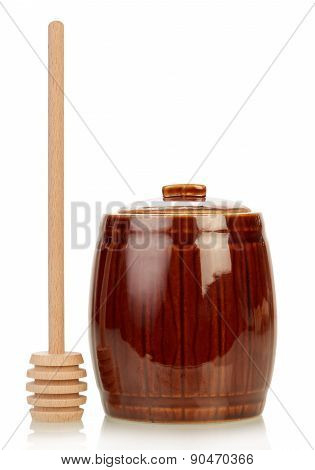 Wooden jar for honey and dipper