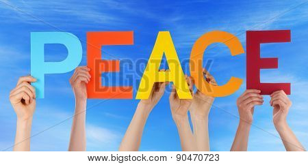 Hands Hold Colorful Straight Word Peace Blue Sky