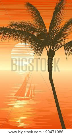 Palm Tree On Sunset Sea Background With Yacht.