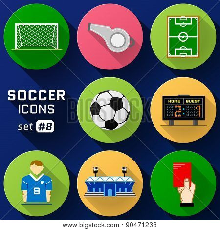 Color Flat Icon Set Of Soccer Elements