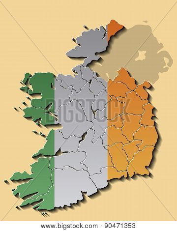 Map of Republic of Ireland with Flag