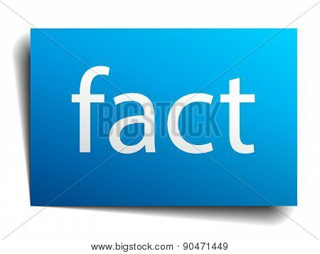 Fact Blue Paper Sign On White Background