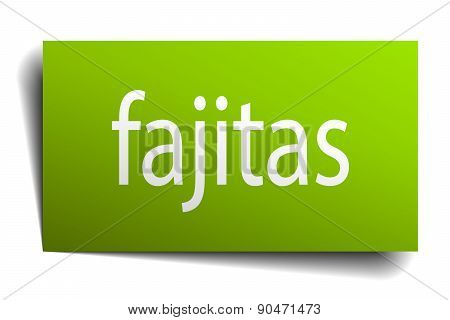 Fajitas Green Paper Sign Isolated On White