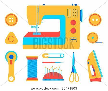 Sewing machine, tools and accessories for sewing. Flat vector illustration.