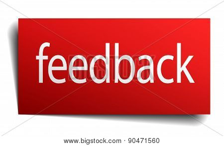 Feedback Red Paper Sign On White Background