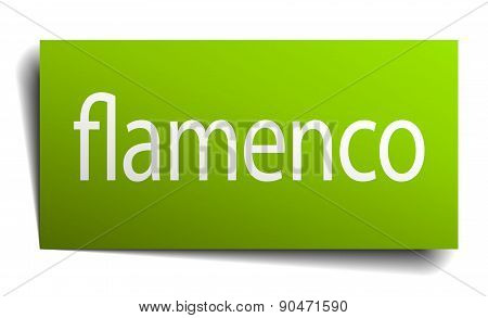 Flamenco Green Paper Sign Isolated On White