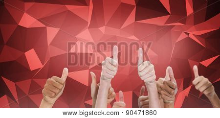 Thumbsup against red abstract design