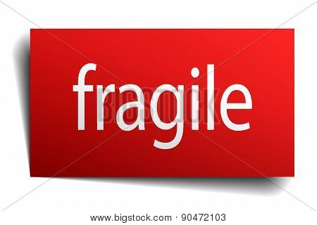 Fragile Red Paper Sign On White Background