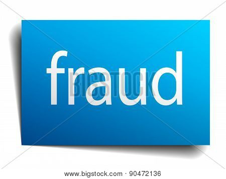 Fraud Blue Paper Sign On White Background